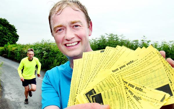 Lakes MP Tim Farron ran from Levens to Westmorland General Hospital to hand in the signatures he has collected