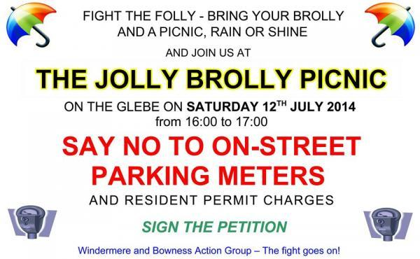 'Jolly Brolly Picnic' organised to oppose on-street parking charges in Windermere and Bowness