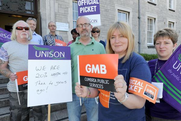 The Westmorland Gazette: The picket line outside Kendal's County Hall this morning. Right (Maddy Wilkinson of GMB and Jenny Martin of Unison