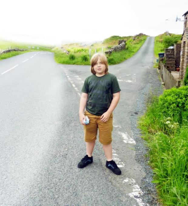 The Westmorland Gazette: Lewi Sharp at the scene of the fatal accident