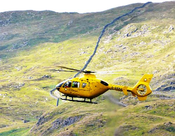 The air ambulance flies over Patterdale on route to one of the incidents Photo by @helvellyn