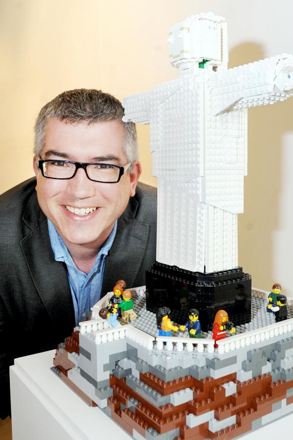 Warren Elsmore with one of his Lego