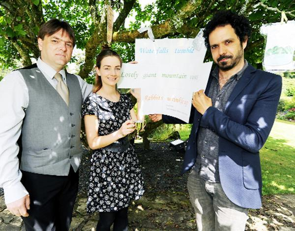 Seen with some of the poems are hotel manager Tony Holden, Danielle Hardy and Zaffar Kunial, poet in residence at Dove Cottage