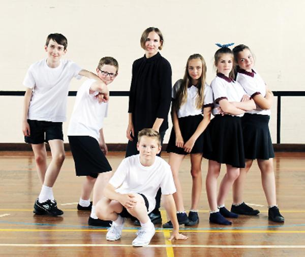 Woman's Hour singer and video director Fiona Burgess with pupils in the video. L-R: Khan Durnall, Joe Hurn, Tom Johnson, Fiona, Cody Ediss, Kim Brown, Katie Knowles (Photograph Ella Scott).