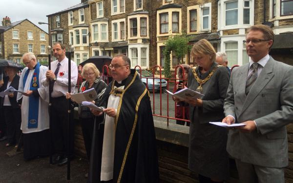 MP David Morris (right) at the service at St Barnabas' Church in Morecambe