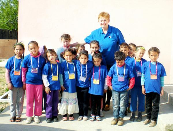 Children at the Tinca School in Romania wearing clean clothes thanks to the charity Boxes of Hope Cumbria