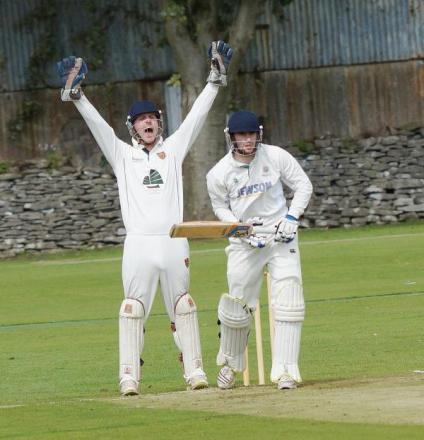 Ryan Shepherd looks on as Chorley wicket keeper/captain Andrew Holdsworth appeals
