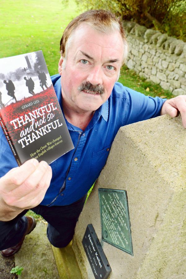 Author Gerry Lees at the Nether Kellet peace stone with his new book
