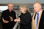 Theresa May visited a farm in Brookhouse with MP Eric Ollerensha to discuss rural crime with local farmers and the NFU. Farmer John Taylor, UK Home Secretary Theresa May and MP Eric Ollerensha. (19324562)