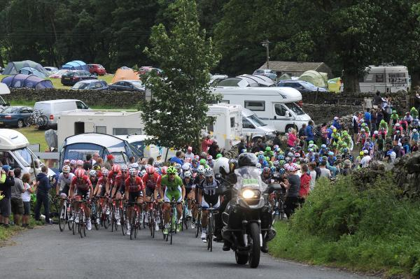 The Tour de France peloton at the foot of Buttertubs Pass in Hawes in 2014
