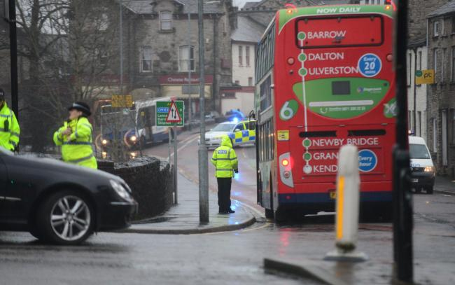 The scene of this morning's accident in Kendal