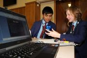 Pupils Ralph Ching and Katie Pugh design a safety beacon for cyclists to warn them of potential hazards using electrical circuits to create a 3D prototype during an engineering event at St Bernard's in Barrow. (16336425)