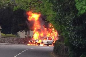 VIDEO: Firefighters tackle car blaze in Grasmere