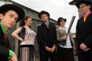 Queen Katherine School 's summer production of Bugsy Malone. Pictured is Sophie Simpson (Tallulah), Dan Jones (Bugsy Malone), Ruth Brown (Blousey Brown). Thomas Johnson (Fat Sam) and Joe Hurn (Ritzy). (28589520)