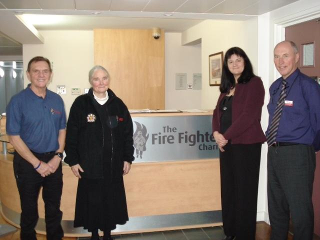 Pictured at Jubilee House, the Fire Fighters Charity's rehabilitation centre near Penrith, are volunteer driver Denis Cooke, Buddhist fire chaplain Jacquetta Gomes, and the charity's Sharon Bailey and Andrew Waterfield.