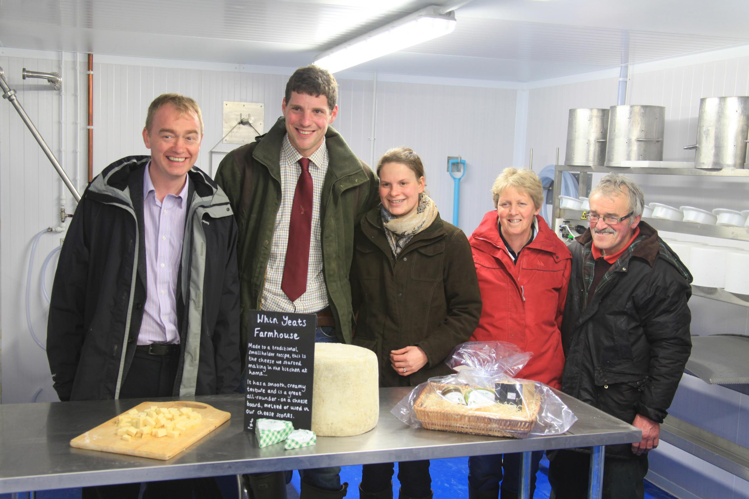 MP Tim Farron with Tom and Clare Noblet, left, and their business partners Jenny and Max Burrow