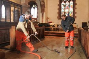 Specialist flood restorers working at Appleby church praise 'resilient British character' of flooded Cumbrian folk