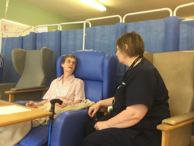 patient Mrs Kay Spurr with Liz Axten, Ward Manager on the Dunmail Treatment Centre at WGH.