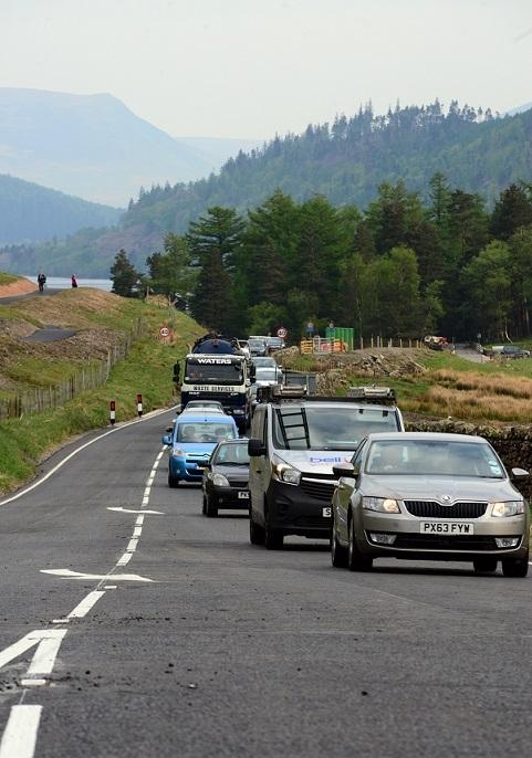 Vehicles start to use the A591 after it was reopened this week