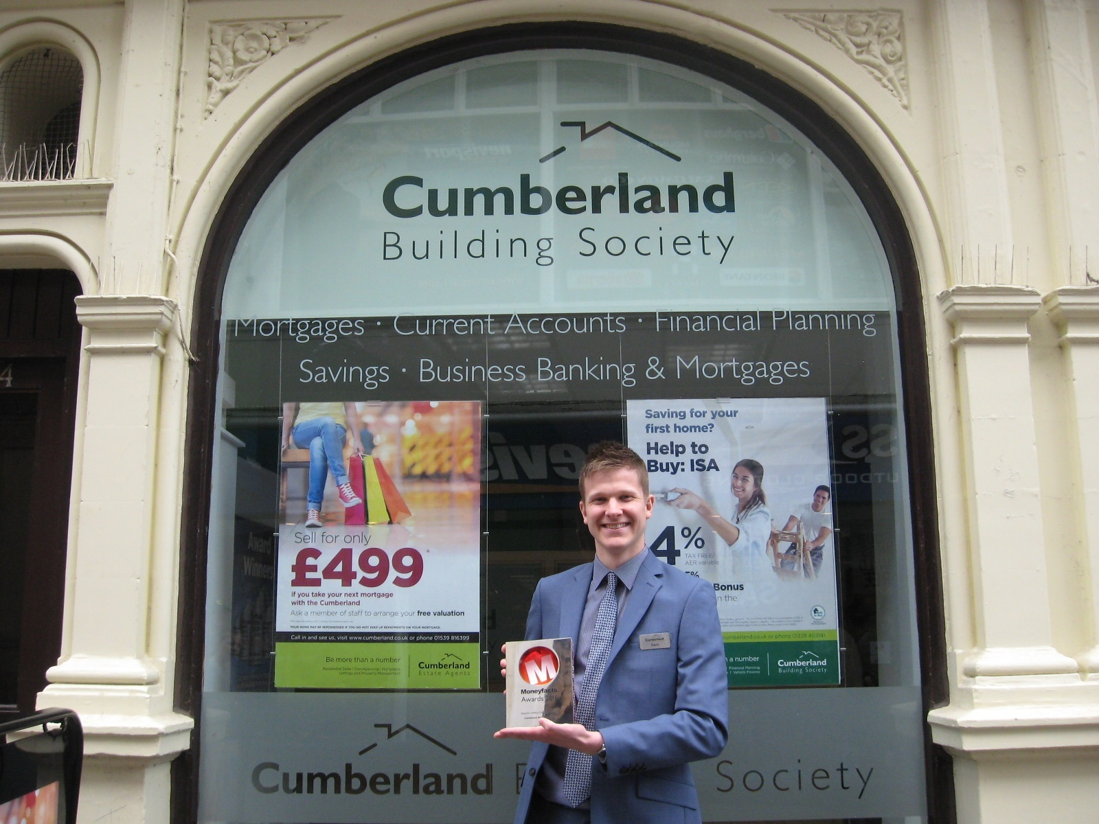 Kevin Aitken, branch manager at Cumberland Building Society with the Moneyfacts award