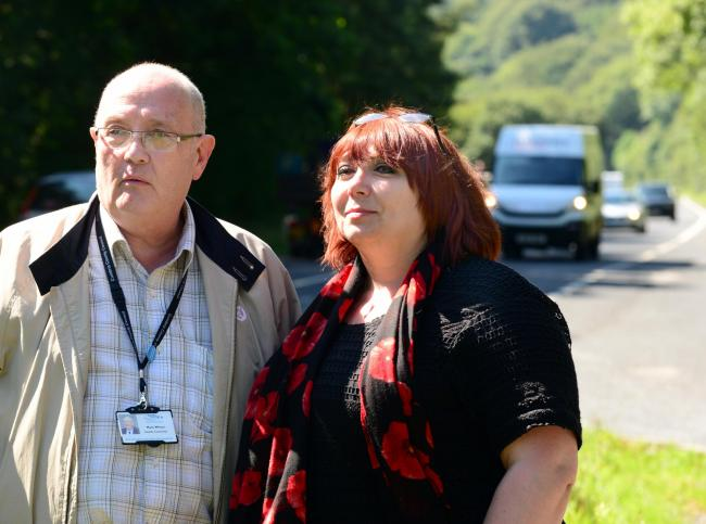 Mayor Mark Wilson and Suzanne Edgley at the A590