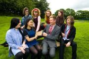 Furness College principal Andrew Wren with students at the Rating Lane campus, Barrow
