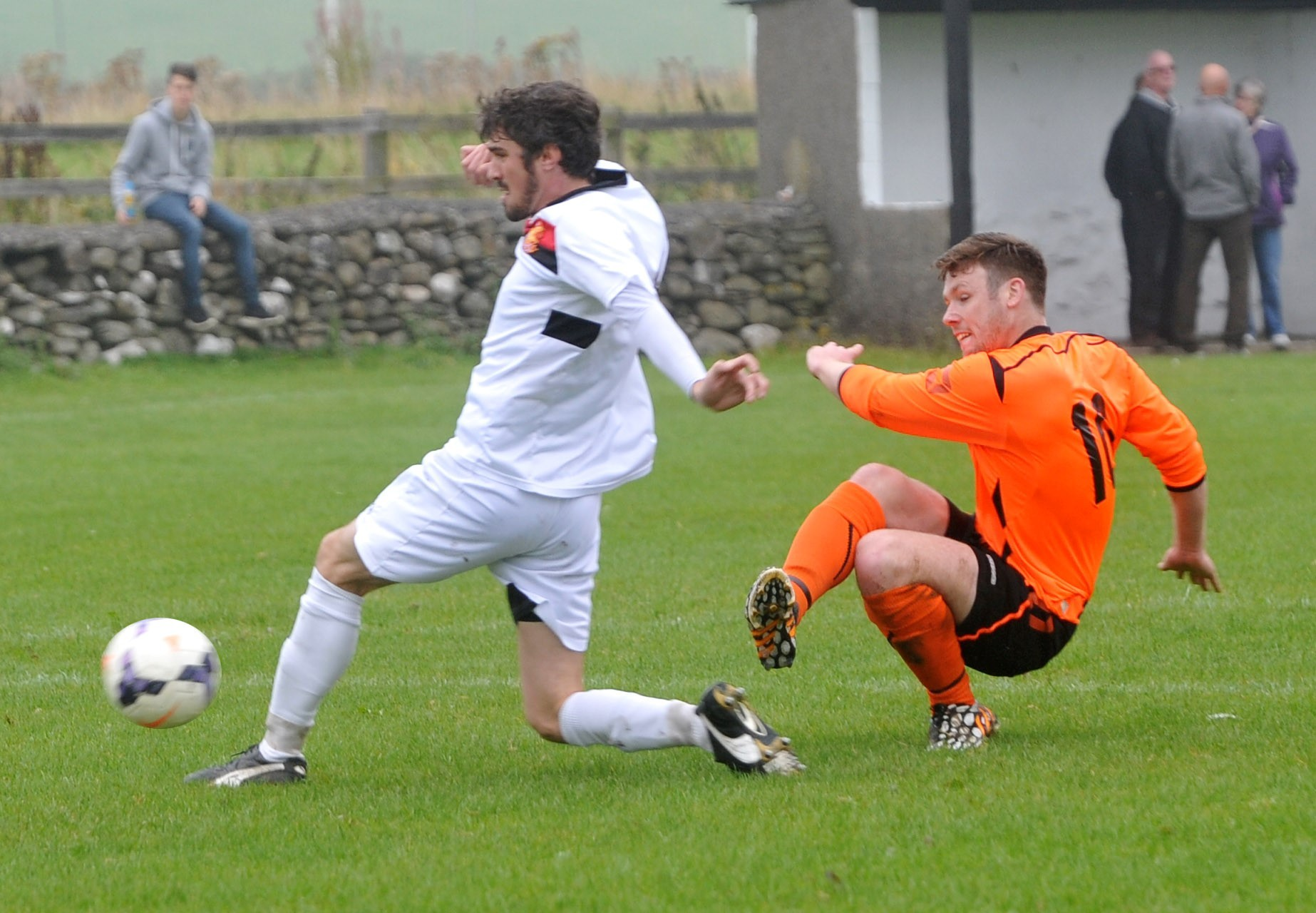 Mark Loughlin (right) scored for Settle United in their vital win at Silsden Whitestar