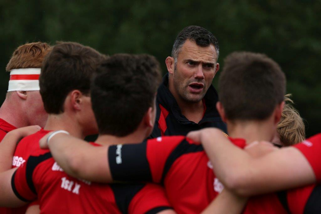 Getting his message across... Dan Cook seen coaching young rugby players at Giggleswick School