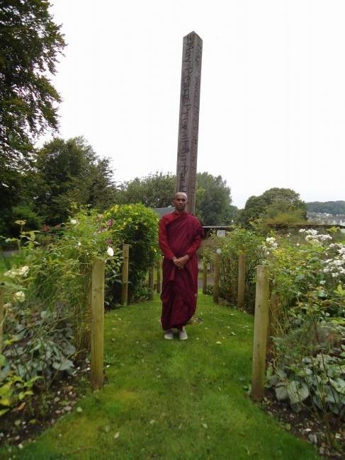 Buddhist monk Venerable Maholava Ariyadhamma visits Kendal's Peace Garden, at Abbot Hall Park