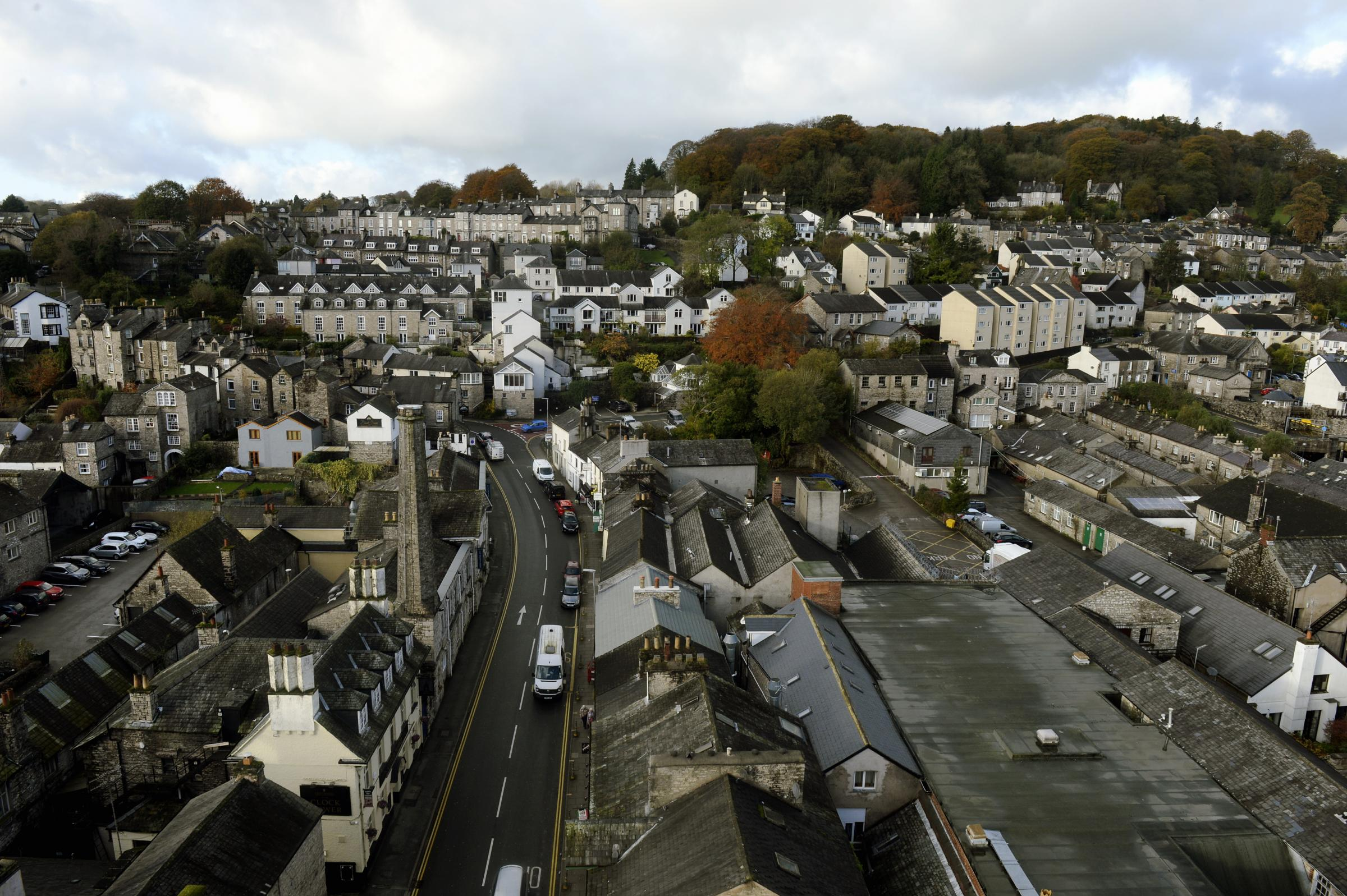 Work in progress on Kendal's town hall bell tower refurbishment project...Puictured: View from the bell tower...25/10/2017..JON GRANGER.