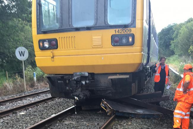 The derailed two-car 142 Northern train after it hit a trolley on the Giggleswick to Clapham line in August