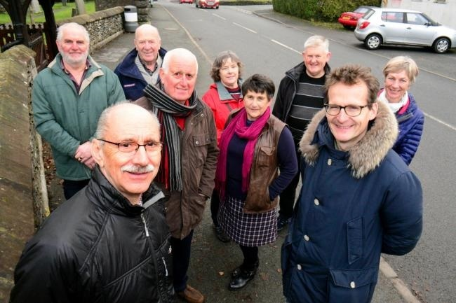 Cllr Tony Hills with (front right), Mark Cropper and Burneside Parish Councillors and Residents with big plans for housing, infrastructure and amenities to be delivered to Burneside