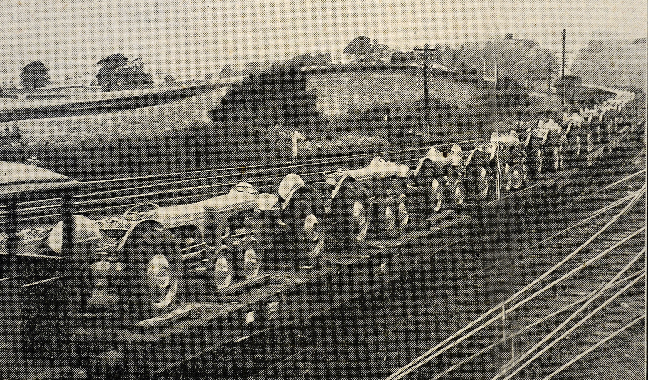 A special train carrying 57 tractors from Coventry is pictured approaching Kendal, the distribution centre for Lancashire and Westmorland in 1947