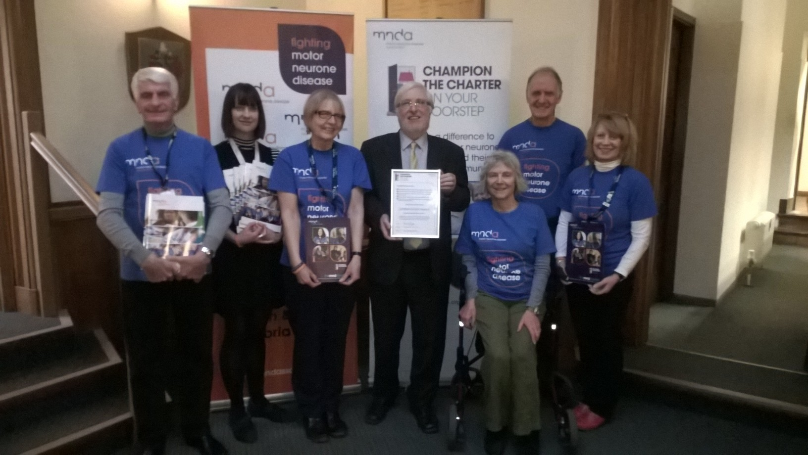 Cllr Peter Thornton with MND charter