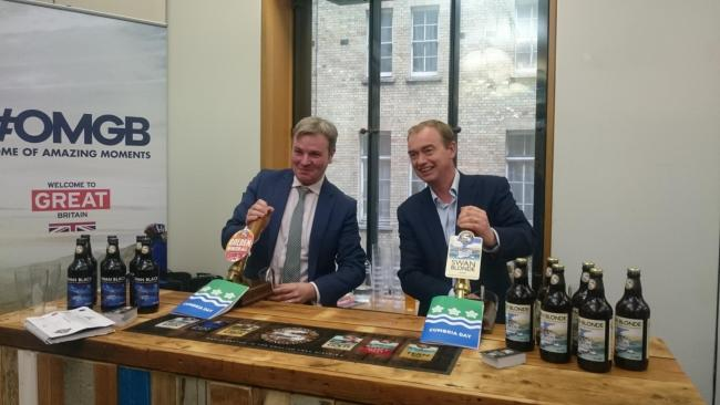 Tim Farron at last year's Cumbria Day with former Copeland MP Jamie Reed