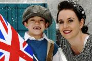 Members of Castle Park School in Kendal donned period costume this week, as part of their WWII study project, to remember the British values that were fought for...Pictured are pupil Ethan Park as a young evacuee with teacher Sarah Breeze...06/02/2018..JO