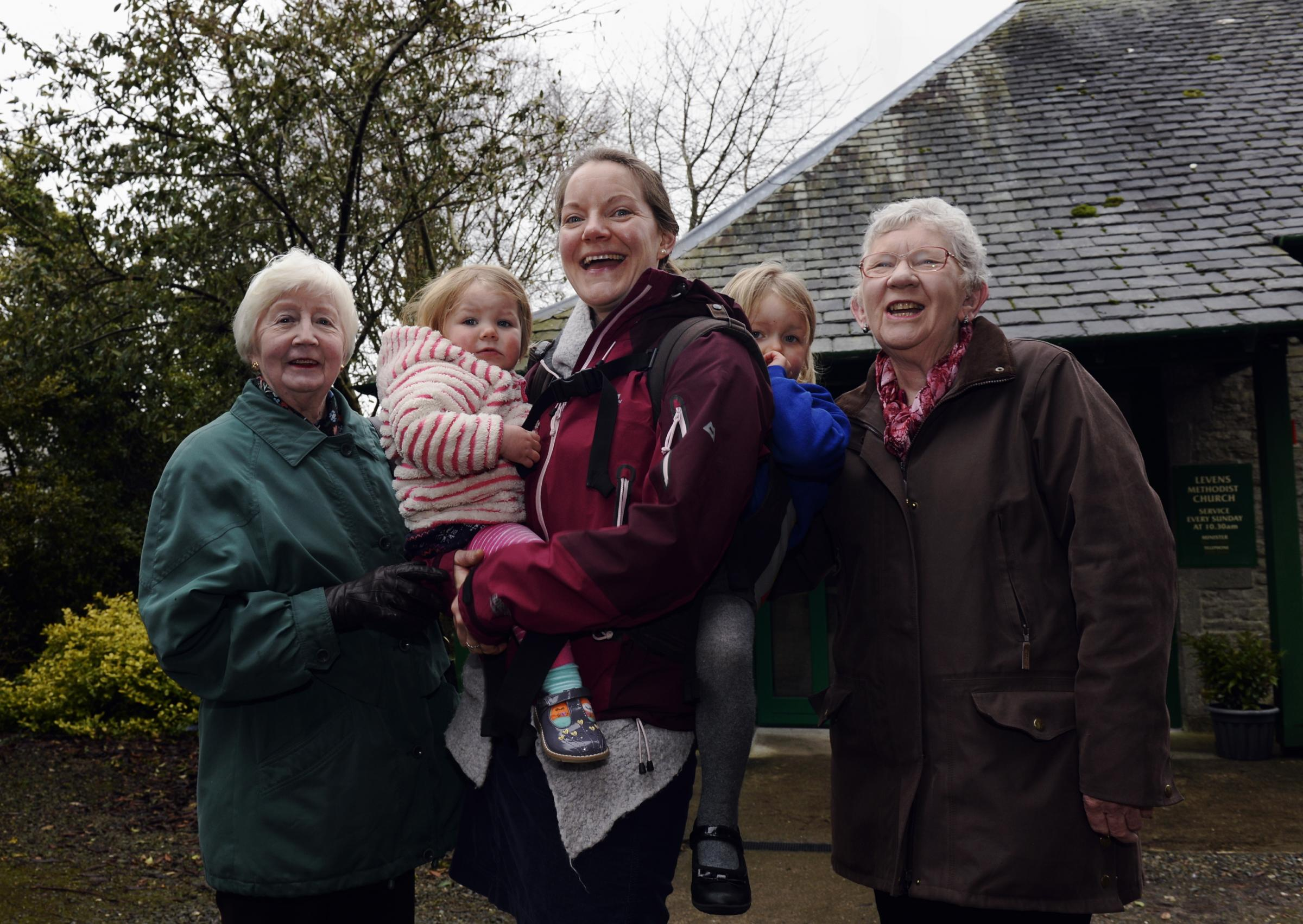 PEOPLE MATTER: Irene McKay of Levens who is organising a care in the community group is pictured (right), with fellow villagersTricia Binns and Jen Harris with her children Anna and grace.06/03/2018JON GRANGER