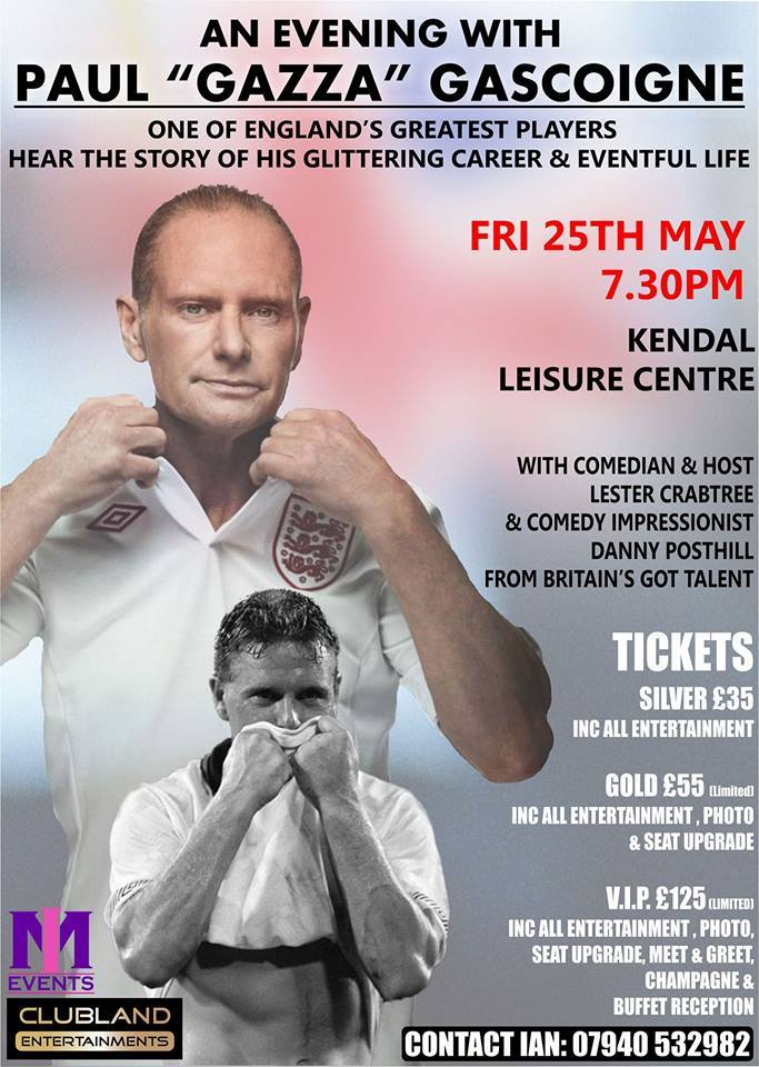 Paul Gascoigne talks about his glittering career and life at Kendal Leisure Centre on May 25