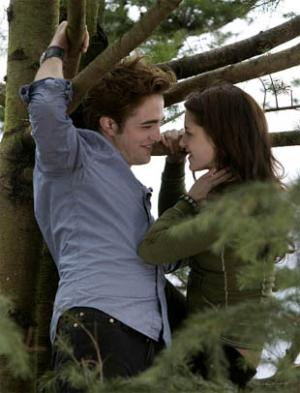 ROBERT Pattinson and  Kristen Stewart in two scenes from Twilight.