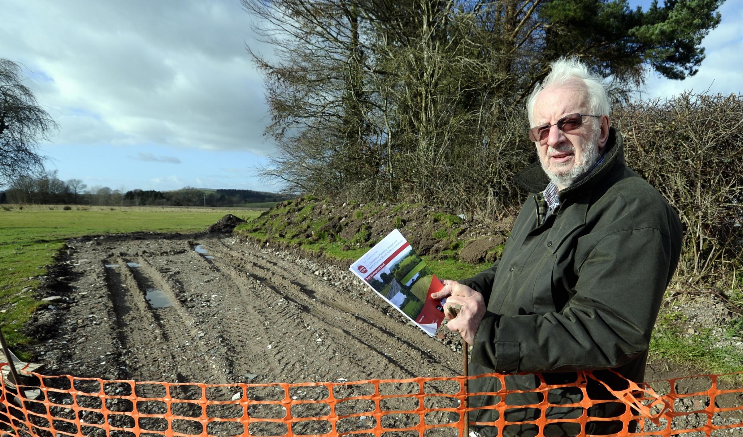Councillor Allan Muirhead at land near St Mary's Primary School  Kirkby Lonsdale where there is a proposal to build 78 dwellings.