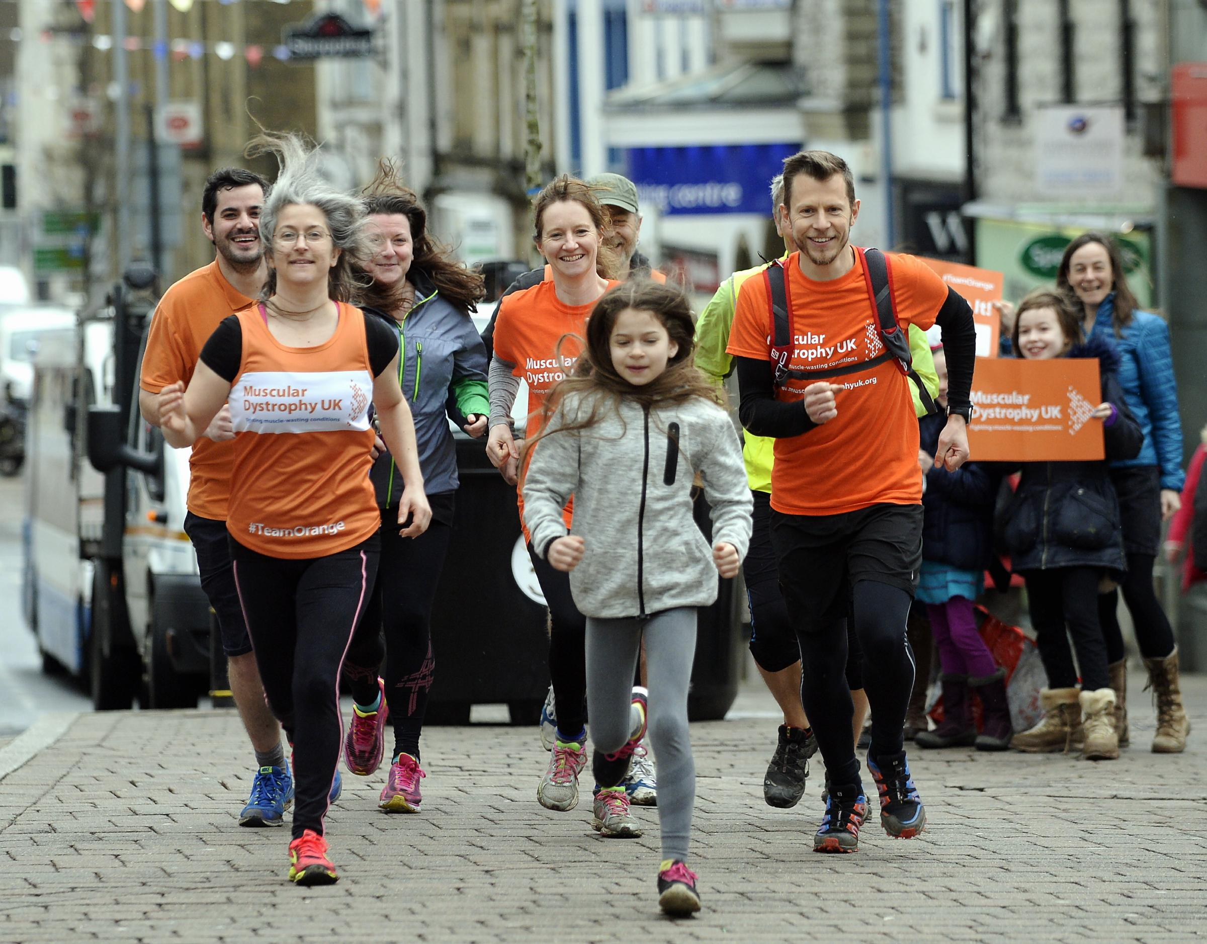 Simon Blunden of Kendal pictured (right) with friends running to raise money for Muscular Dystrophy UK...10/04/2018..JON GRANGER.