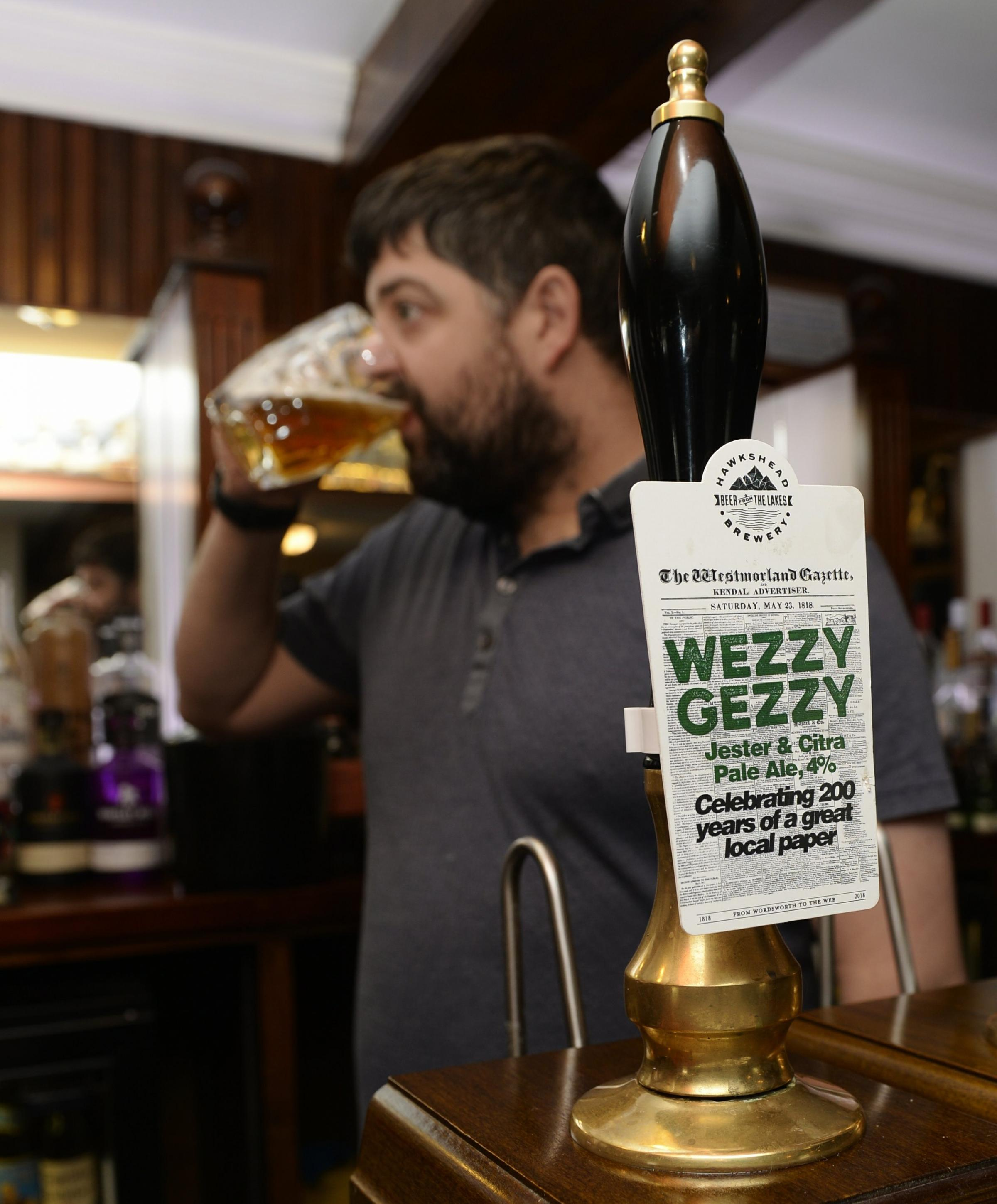Kendal publican Phil Walker of the New Union pub who says the Wezzy Gezzy anniversary ale is proving very popular...18/04/2018..JON GRANGER...
