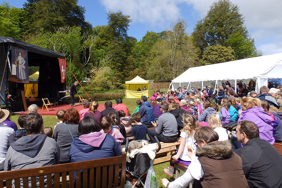 The atmospheric, carnival-style Muncaster Festival held on the castle's front lawn offers a range of entertainment and activities including the International Jesters Tournament