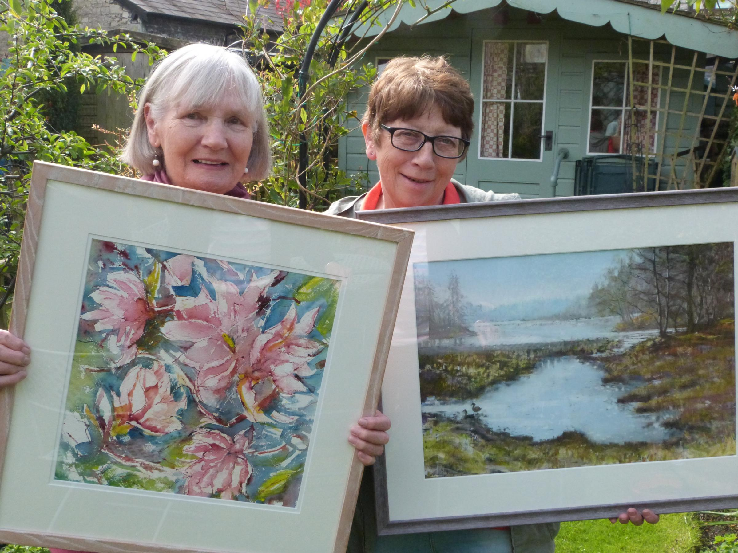 From left, members of Kendal Art Society Rose Brennand and Gillian Impey. Both artists feature in the art society's must see annual exhibition, running from Saturday, May 19 until June 2 at Stricklandgate House, Kendal.