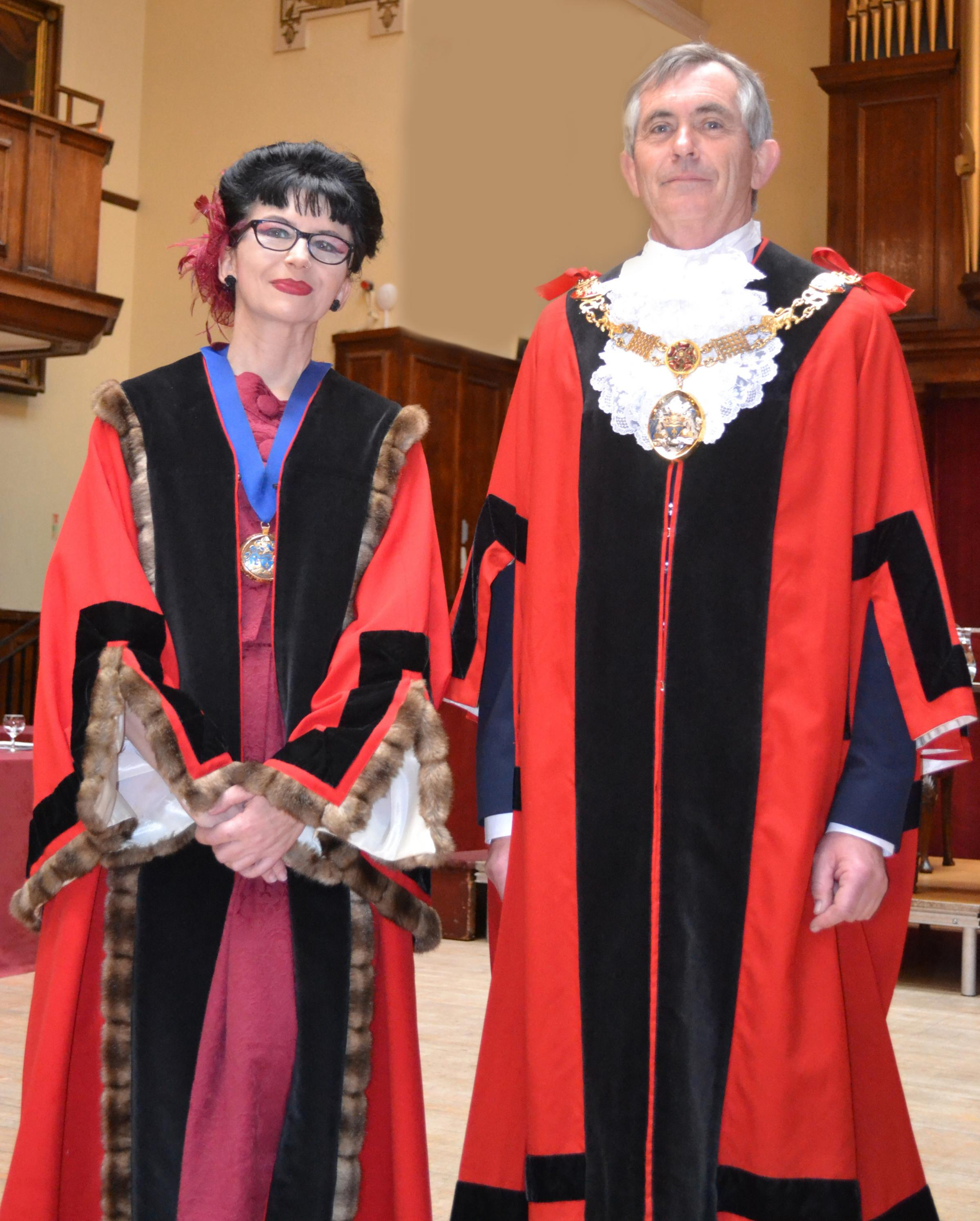 Pictured at the mayor making ceremony in Lancaster are the city's new mayor, Cllr Andrew Kay, and deputy mayor, Cllr Claire Cozler