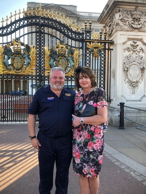 Gary and Mandy Parsons, representing Bay Search and Rescue at Buckingham Palace