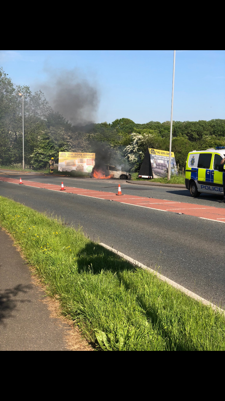 Car fire closes one lane of A590