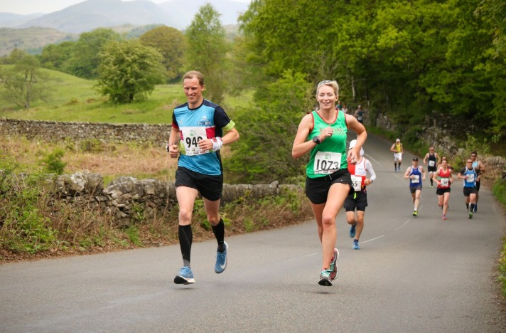 Sally Ford (right) first female finisher. Pic James Kirby