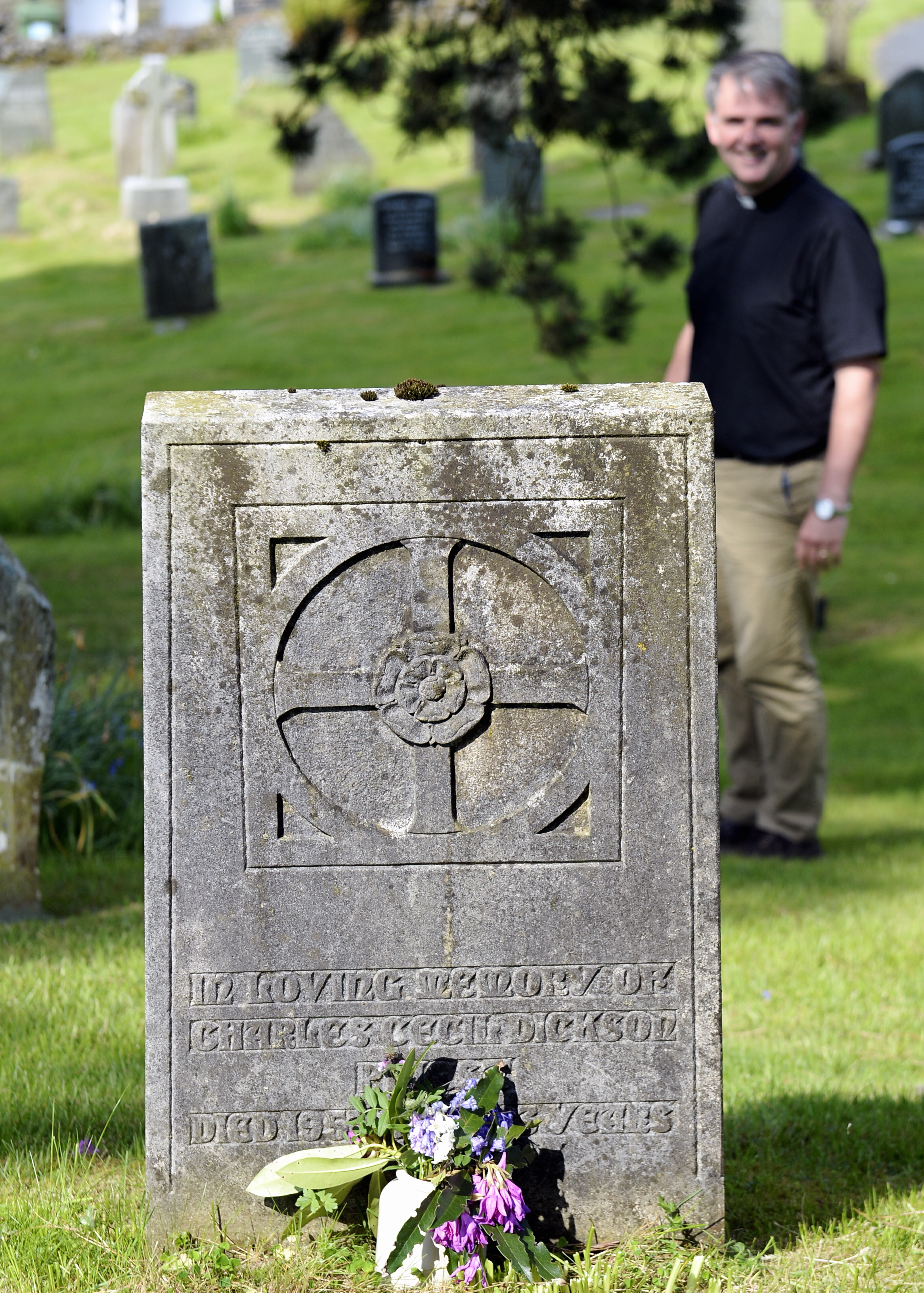 The grave at St Peter's Church, Sawrey, of Rev:Charles Dickson who died in 1957...21/05/2018..JON GRANGER.