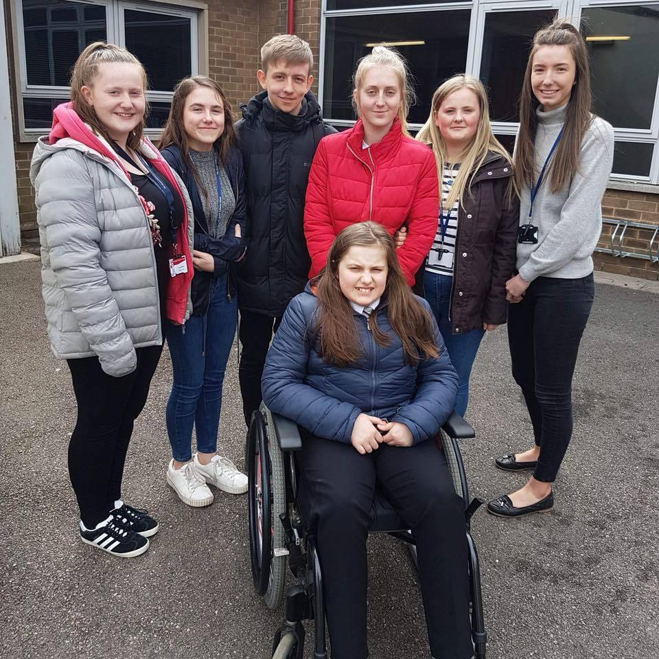 Ella Dixon with fundraisers at the Queen Katherine School in Kendal